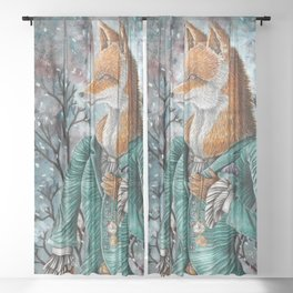 Fox in Suit Sheer Curtain
