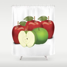 Apple with heart and a leaf in style Shower Curtain