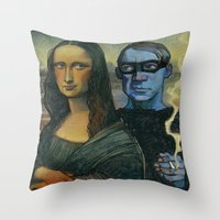 pablo picasso Throw Pillows featuring Mona Lisa & Pablo Picasso by RSAR