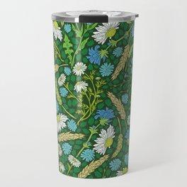 Chamomile and blue chicory among herbs and wheat Travel Mug