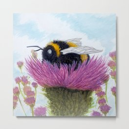 Bumblebee on a Thistle Metal Print