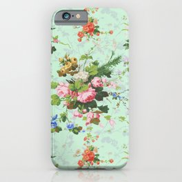 Antique romantic vintage 1800s Victorian floral shabby rose flowers pattern aqua mint hipster print iPhone Case