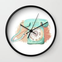 telephone Wall Clocks featuring Telephone by Paint Your Idea