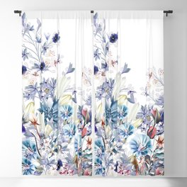 Light floral vector illustration with spring and summer field flowers  Blackout Curtain
