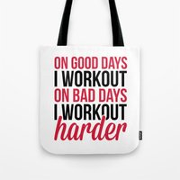 workout Tote Bags featuring Workout Harder Gym Quote by EnvyArt