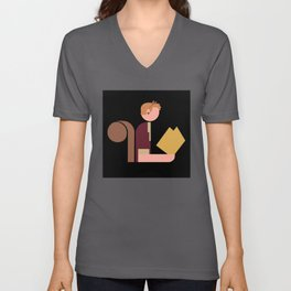 Squirrel Lady Reads Unisex V-Neck