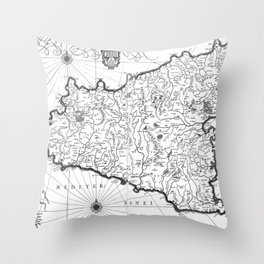 Vintage Map of Sicily Italy (1600s) BW Throw Pillow