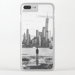 New York City Skyline Views and Vibes Black and White Clear iPhone Case