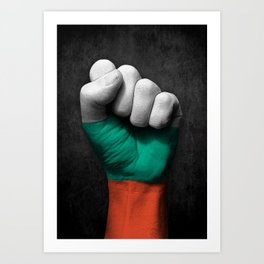 Bulgarian Flag on a Raised Clenched Fist Art Print