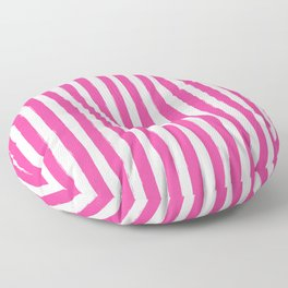 Pink and White Cabana Stripes Palm Beach Preppy Floor Pillow