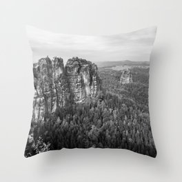 Rocks above the forest Throw Pillow