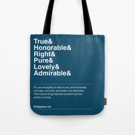 Philippians 4:8 (Blue Version) Tote Bag