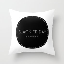 Black Friday shopping sign : Shop now! Stylish icon BW Throw Pillow