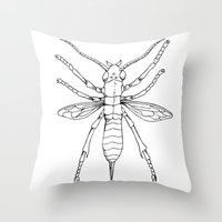 insect Throw Pillows featuring Insect by Martin Stolpe Margenberg
