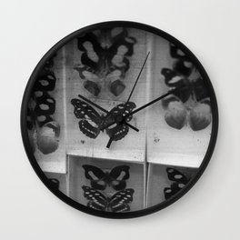 Butterfly Case - black and white Wall Clock