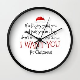 I Want You For Christmas Wall Clock