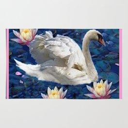 Swans & Peach Water Lilies Art Rug