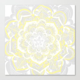 Woven Fantasy - Yellow, Grey & White Mandala Canvas Print