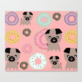 Pug and donuts pink Canvas Print