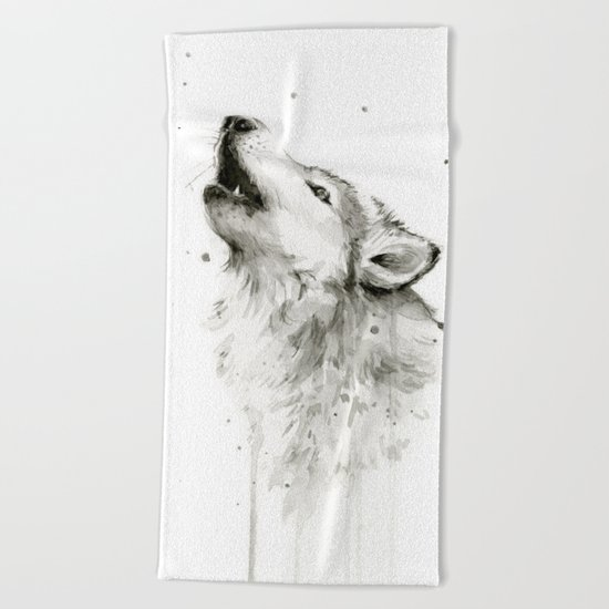Wolf Howling Watercolor Animals Wildlife Painting Animal Portrait Beach Towel