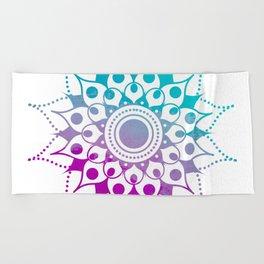Mandala #2 (Purple Pink Turquiose) Beach Towel