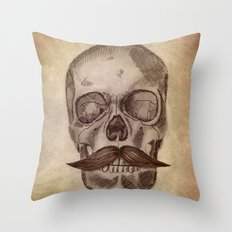 Skull Mustache Throw Pillow