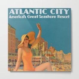 Vintage Art Deco Atlantic City Beach Resort Travel Poster by Edward Eggleston Metal Print