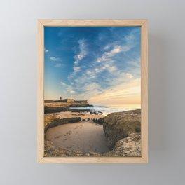 Beach of Carcavelos & Saint Julian Fortress, Portugal Framed Mini Art Print