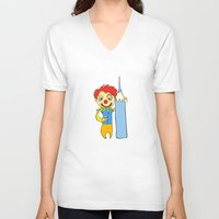 clown V-neck T-shirts featuring Clown by Ercan Sert