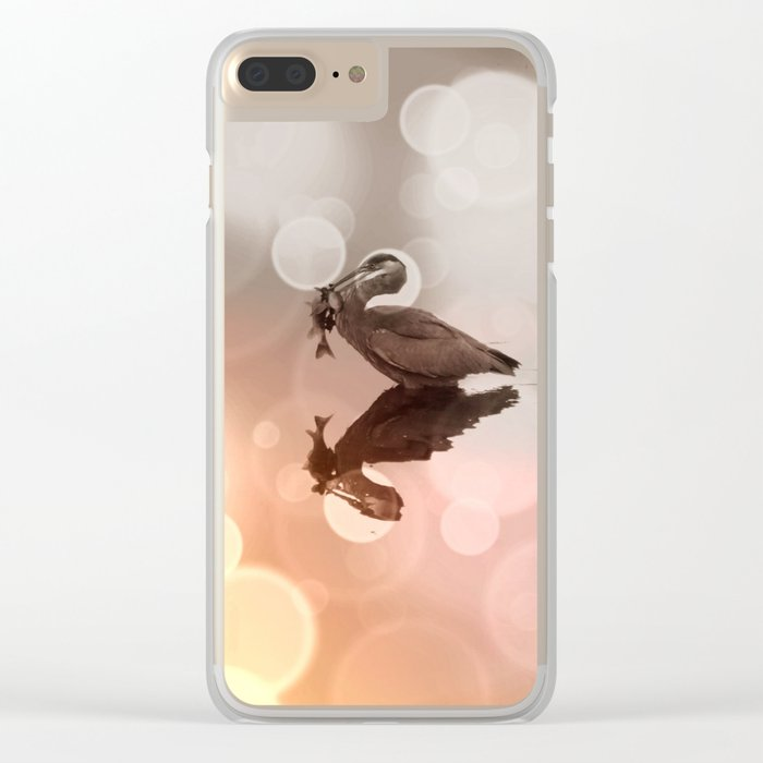 Great Blue Heron Hunter Reflection Clear iPhone Case