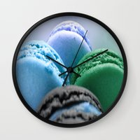 macaroons Wall Clocks featuring MACAROONS Blue Aqua Turquoise by Whimsy Romance & Fun