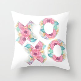 XOXO Floral Watercolor Typography Throw Pillow