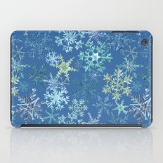 icy snowflakes on blue iPad Case