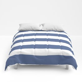 UCLA blue - solid color - white stripes pattern Comforters