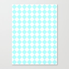 Diamonds - White and Celeste Cyan Canvas Print