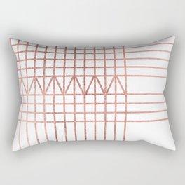 Elegant modern white faux rose gold geometrical lines Rectangular Pillow