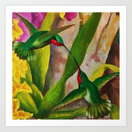 Ruby-throated Hummingbirds Garden Still Life painting by Diego Rivera Art Print