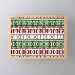 Green & Red Winter Fair Isle Framed Mini Art Print