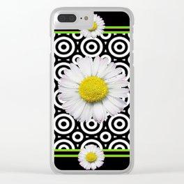Modern Deco Style Shasta Daisies Black Art Clear iPhone Case