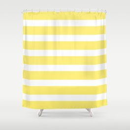 Yellow Buttercup Stripes on White Background Shower Curtain
