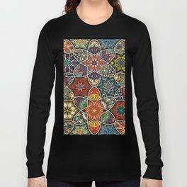 Vintage patchwork with floral mandala elements Long Sleeve T-shirt