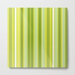 Stripes (Parallel Lines) - White Green Metal Print