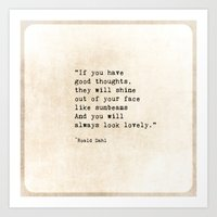 roald dahl Art Prints featuring Roald Dahl Lovely Quote by ShadeTree Photography