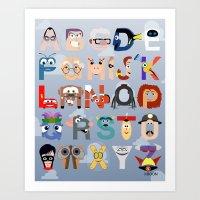 pixar Art Prints featuring P is for Pixar (Pixar Alphabet) by Mike Boon