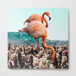 Flamingos In The Desert #society6 #artprints #flamingo Metal Print