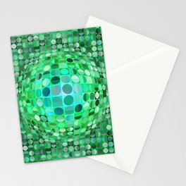 Optical Illusion Sphere - Green Stationery Cards