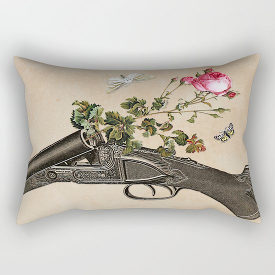 One Gun, One Rose, Two Moths Rectangular Pillow