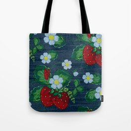 Strawberries and Daisies - Strawberry Patch  - Fruit Tote Bag