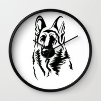 german shepherd Wall Clocks featuring German Shepherd by JonathanStephenHarris