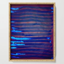 Blue Ice Lines Stripe Serving Tray